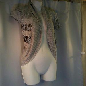 Papaya Shawl Collar Short sleeve Sweater, M